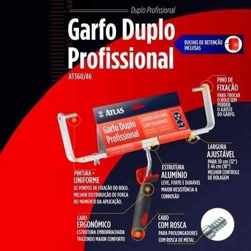 Kit Rolo Duplo 46cm Garfo E Bandeja Profissional Atlas