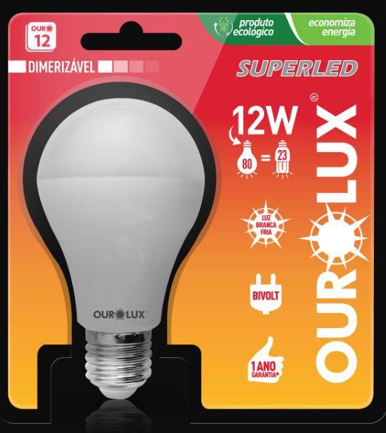 Lâmpada LED Dimerizável 12W Ourolux Luz Branca Bulbo Bivolt