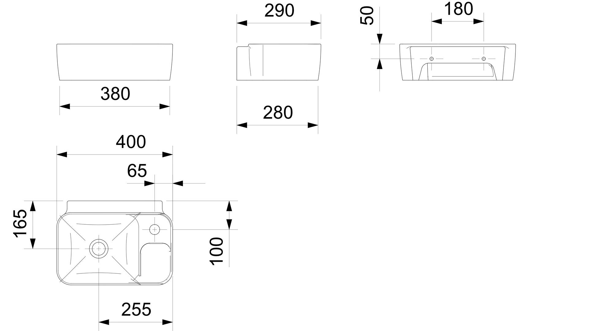 Lavatório Suspenso INCEPA 12,5x40x29cm BRANCA