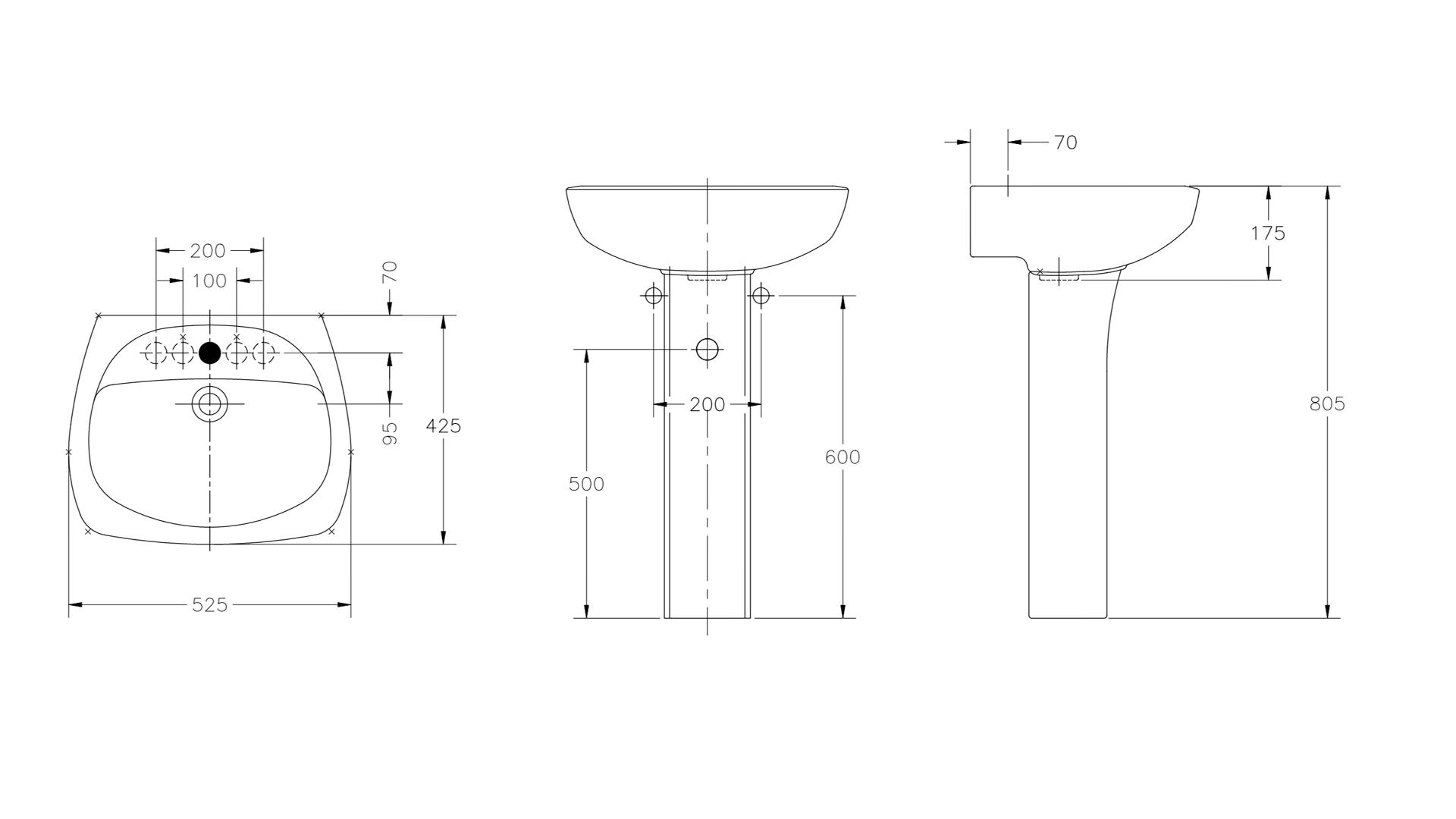 Lavatório THEMA 52,5x42,5 cm INCEPA BRANCO sem coluna