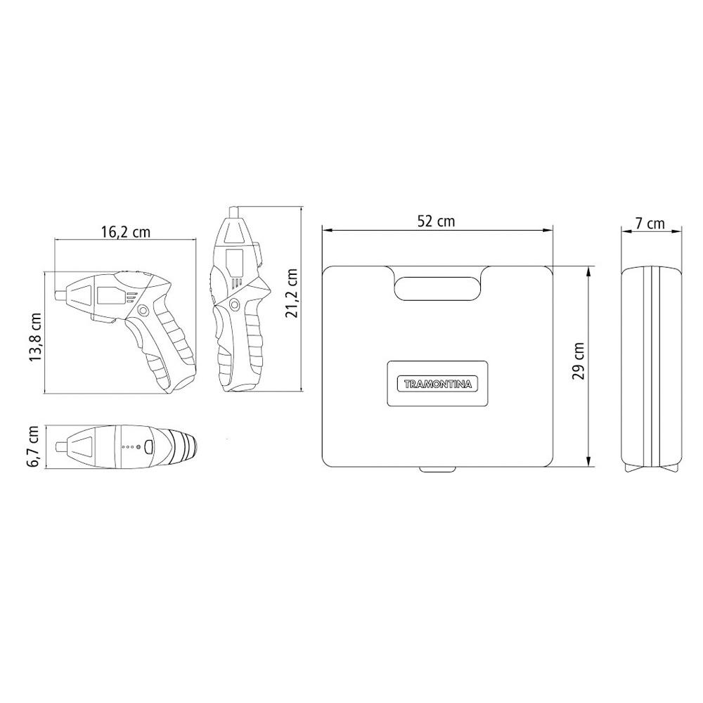 """Parafusadeira ¼"""" - 46 Peça a Bateria 3,6V com maleta TRAMONTINA"""