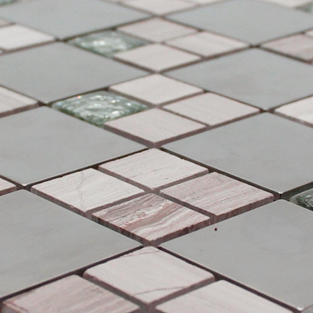Pastilha de Pedra 30x30 cm MESCLA INOX E PEDRA OBRA VITREA