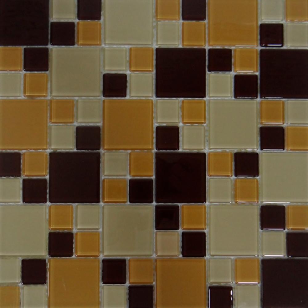 Pastilha de Vidro Cristal 30x30 cm MESCLA MARROM MT - 132 OBRA VITREA