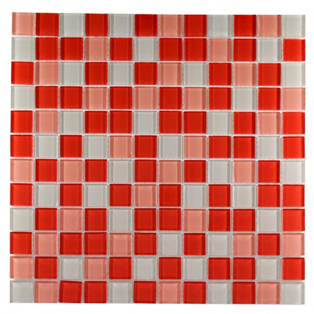 Pastilha de Vidro Cristal 30x30 cm MESCLA VERMELHA OBRA VITREA