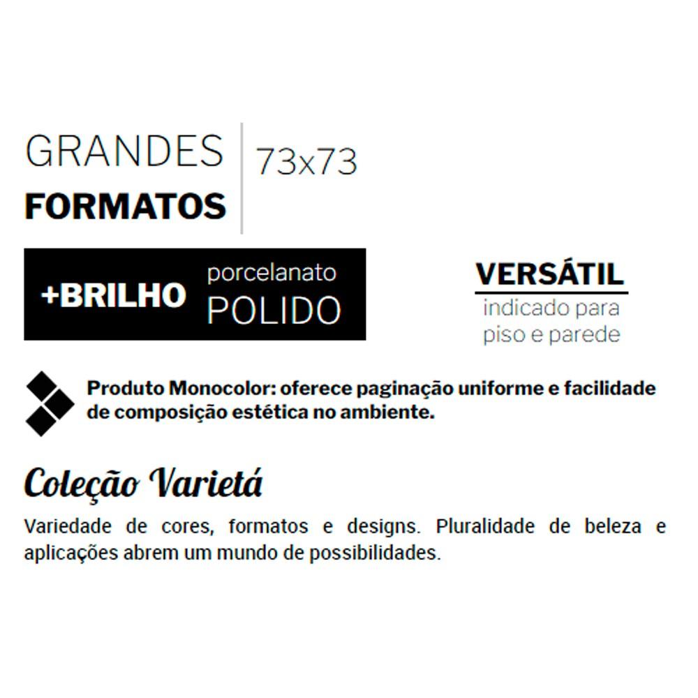 Porcelanato Delta NERO POLIDO (A) Retificado 73x73
