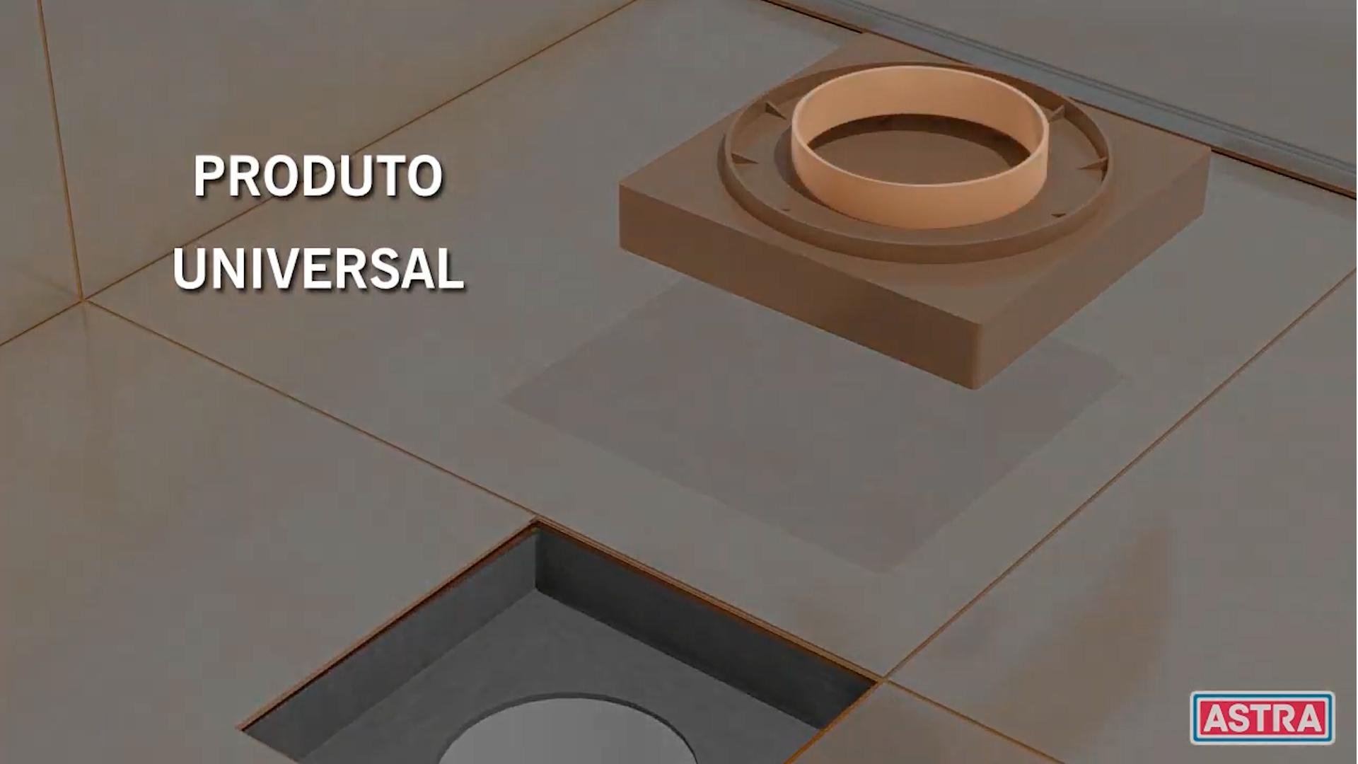 Ralo Oculto invisível 15x15 Universal Cinza Astra