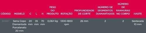 Serra Copo Diamantada 20 / 35 / 40mm Granito Porcelanato Cortag