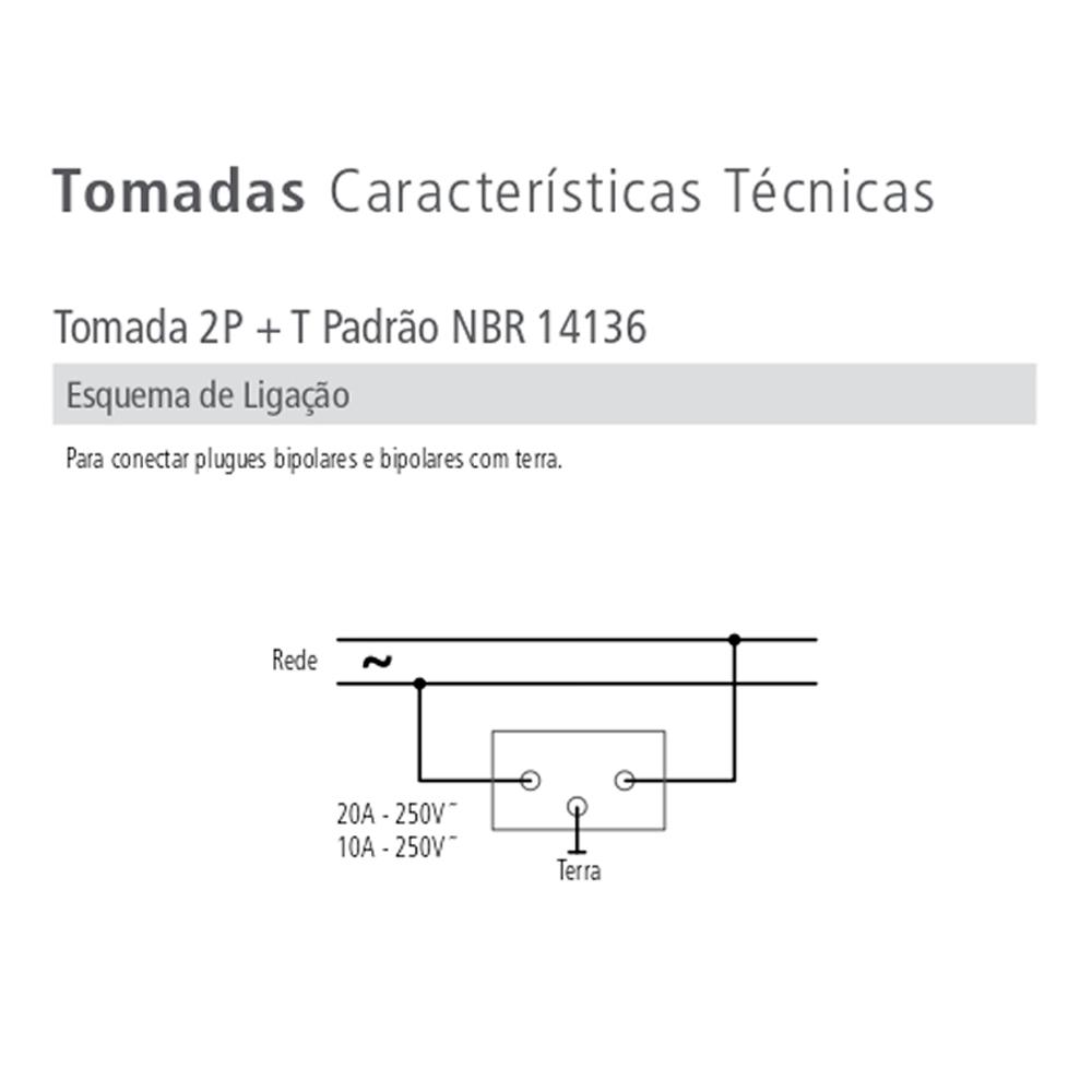 TOMADA NBR 20A C/PLACA LIZ TRAMONTINA