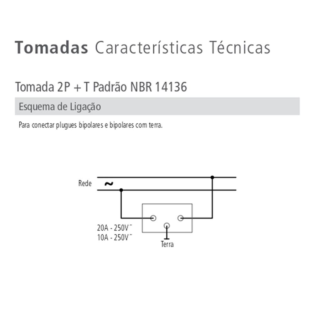 TOMADA NBR C/PLACA 20A LUX TRAMONTINA