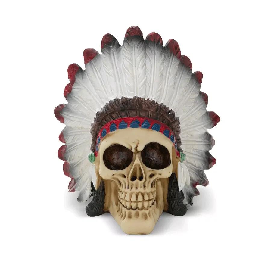 Caveira Cranio Cocar Esqueleto Indio Resina Indigena Simbolo