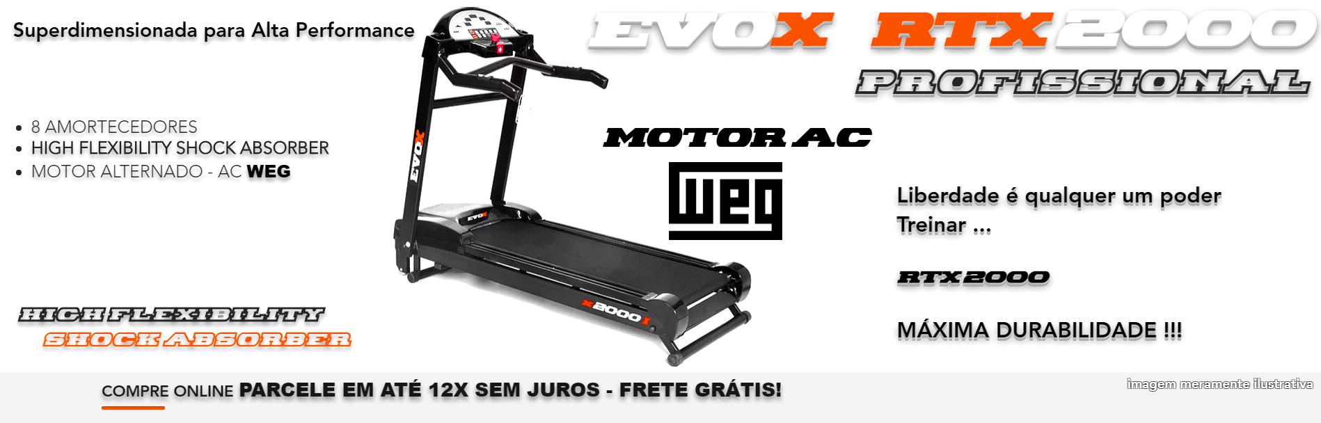 Esteira Ergométrica Evox  RTX2000 Motor Alternado WEG