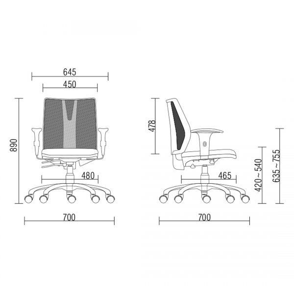Cadeira Addit Giratória Base Reta Tec Preto Frisokar