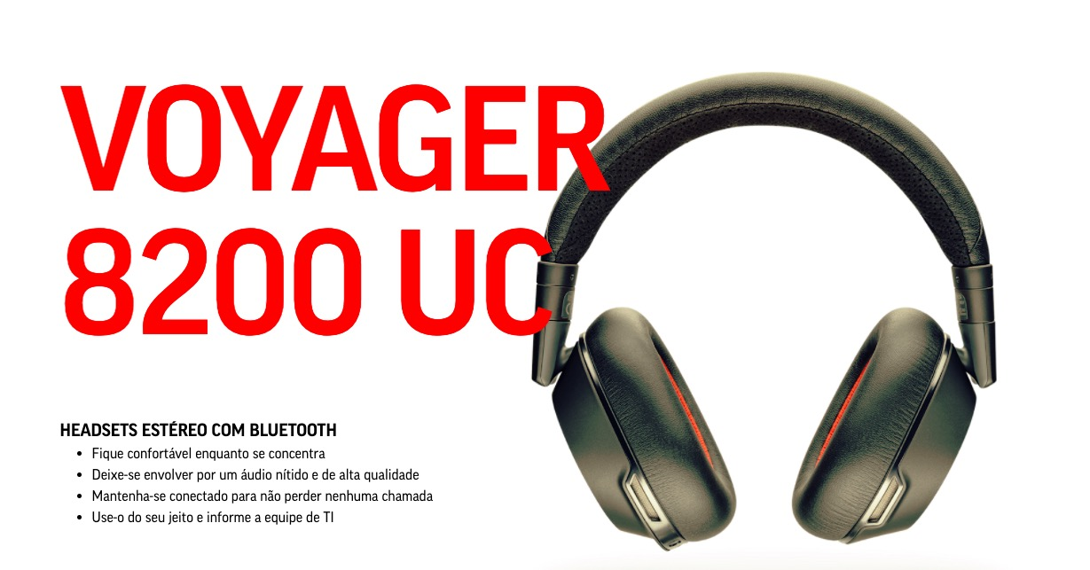 Fone de ouvido Bluetooth estéreo Poly Plantronics Voyager 8200 UC com cancelamento de ruído ativo