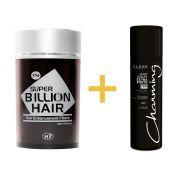 Disfarce para Calvície / Complexo de Fibras de Queratina em Pó Super Billion Hair 25 g + Spray Fixador Charming 50 ml