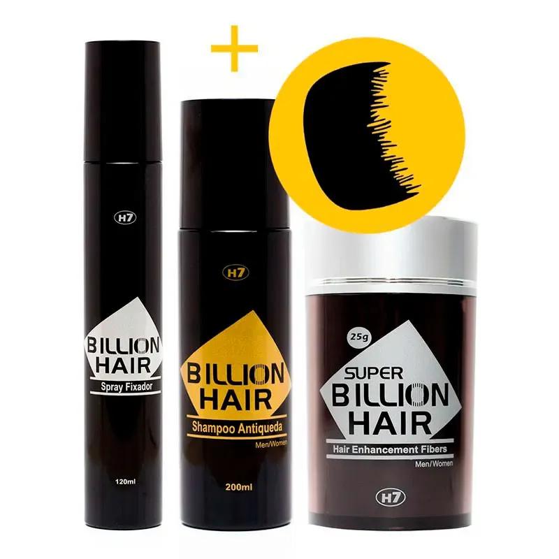 Fibras de Queratina em Pó Super Billion Hair 25 g + Shampoo Antiqueda 200 ml + Spray Fixador 120 ml + Brinde
