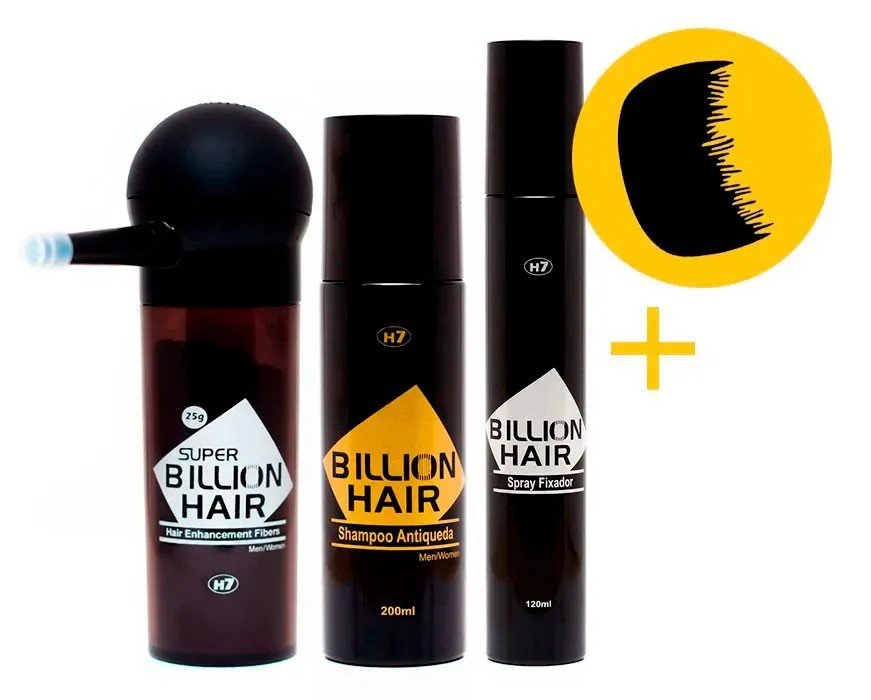 Fibras de Queratina em Pó Super Billion Hair 25 g Slim + Aplicador + Shampoo Antiqueda 200 ml + Spray Fixador 120 ml + Brinde