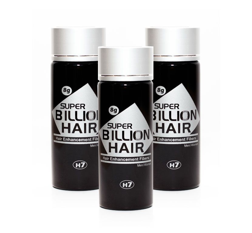 Kit c/ 3 Disfarce para Calvície / Complexo de Fibras de Queratina em Pó Super Billion Hair 8 g