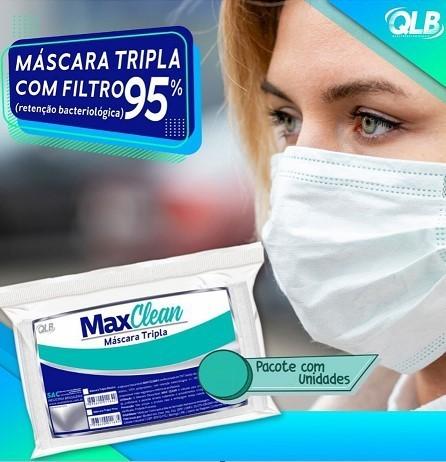 Máscara Descartável Tripla (C/ 10 Unidades )  - MaxClean  -  Dental Paiva