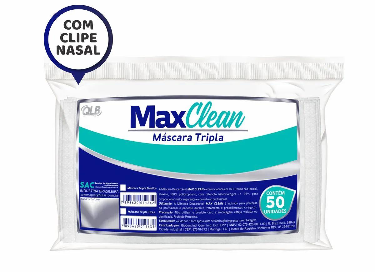 Máscara Descartável Tripla (C/ 50 Unidades ) - MaxClean  -  Dental Paiva
