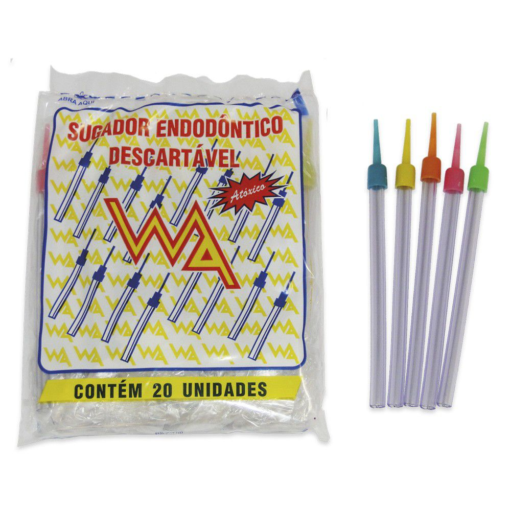 Sugador Descartável Fino (C/ 20 Unidades) -  WA  -  Dental Paiva