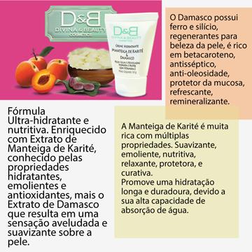 Creme Hidratante Corporal Manteiga Karité e Damasco Divina&Beauty 250g Vidro
