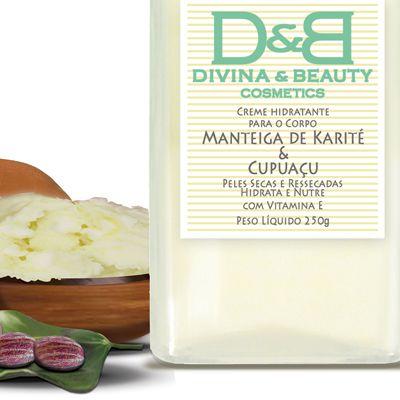 Hidratante Facial e Corporal Manteiga de Karité e Cupuaçu Divina Beauty 250g Vidro