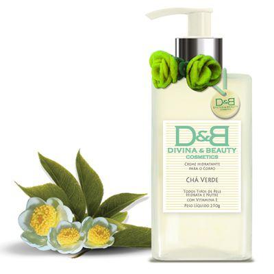 Hidratante Chá Verde Divina & Beauty linda embalagem em vidro.