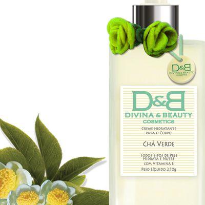 Creme Hidratante Corporal Chá Verde Divina & Beauty ideal para peles Normais com Vitamina E. Fragrância muito Suave de Flores e Frutos. Linda embalagem em vidro.