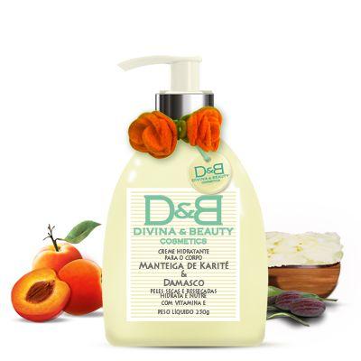 Creme Hidratante Corporal Manteiga Karité e Damasco Divina&Beauty 250g pele seca