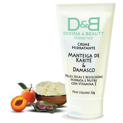 Creme Hidratante Corporal Manteiga Karité e Damasco Divina&Beauty 50g pele seca