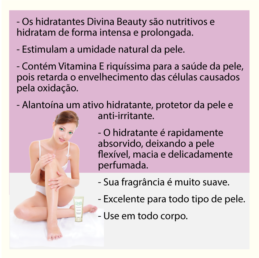 Creme Hidratante Glamour Party Mãos e Corpo Divina Beauty revitaliza e perfuma