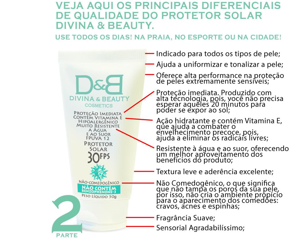 Duo Divina & Beauty Protetor Solar Facial e Corporal FPS30 Vitamina E Hidratante 30g