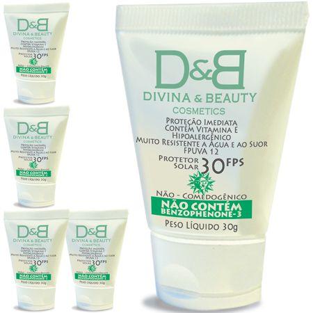 Five Divina & Beauty Protetor Solar Facial e Corporal FPS30 Vitamina E Hidratante 30g