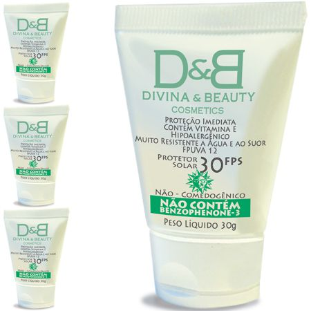 Four Divina & Beauty Protetor Solar Facial e Corporal FPS30 Vitamina E Hidratante 30g
