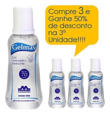 Gel antisséptico hidratante 100ml GelMav Promoção 3  Unidades
