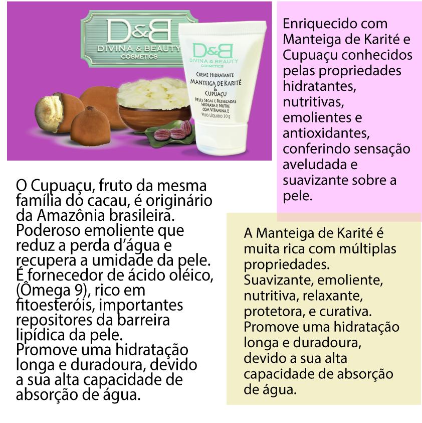 Hidratante Facial e Corporal Manteiga de Karité e Cupuaçu Divina Beauty 30g pele seca