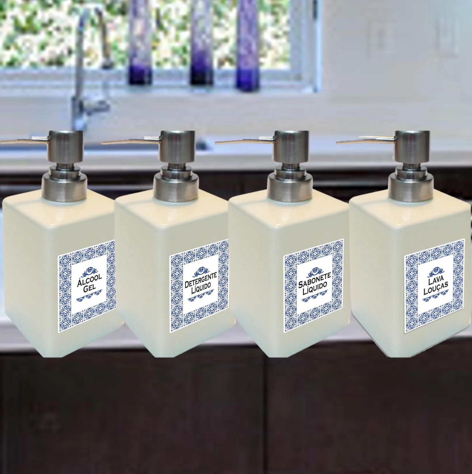 Porta ÁlcoolGel, Sabonete e Detergente líquido, Lava-Louças em porcelana