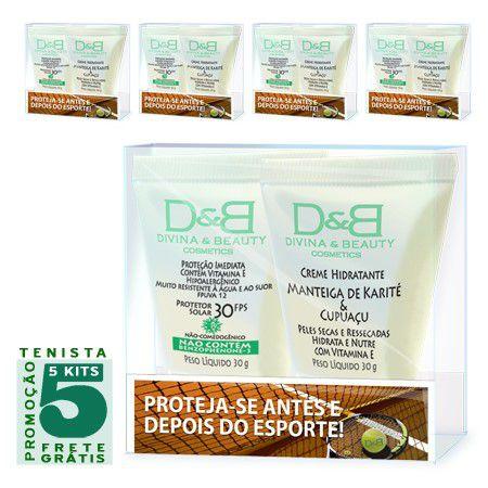 Protetor Solar e Hidratante Esporte Tênis Divina & Beauty 5 Kits