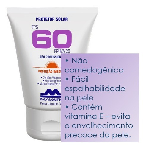 Protetor Solar Facial e Corporal FPS60 Vitamina E Hidratante 30g