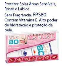 Protetor Solar Facial e Labial FPS80 sem fragrância