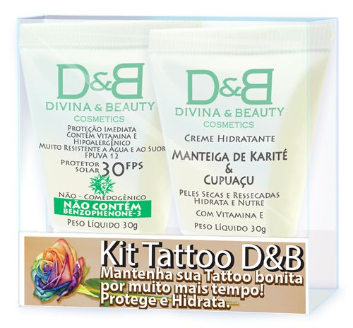 Tattoo Creme Hidratante para Manteiga de Karité & Cupuaçu e Protetor Solar FPS30 Divina & Beauty