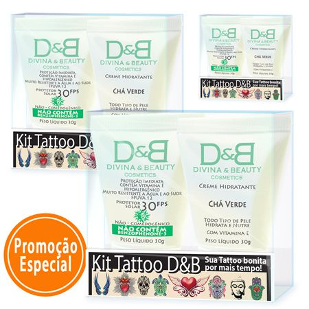 Tattoo Protetor Solar FPS30 Divina & Beauty 3 Kits