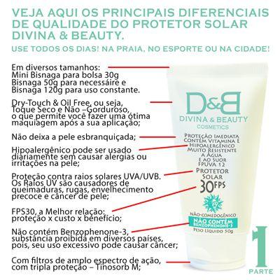 Trio Divina & Beauty Protetor Solar Facial e Corporal FPS30 Vitamina E Hidratante 30g