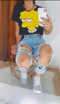 Blusa T-Shirt Cropped Feminino Simpson
