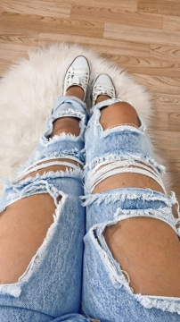 Calça Feminina Jeans Destroyed Mom Cintura Alta