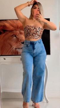 Calça Jeans Feminina Pantalona
