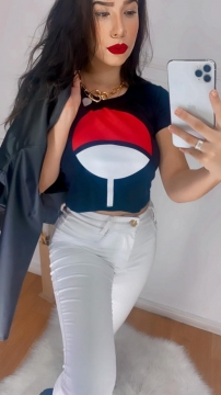 Camiseta Cropped Feminino Naruto