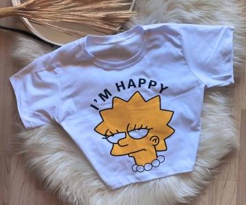 T-Shirt Cropped Feminino Simpson
