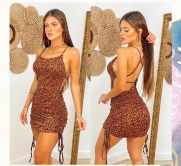 Vestido Feminino Onça Marrom com Ajustador