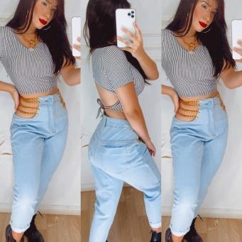Calça Jeans Feminina de Correntes